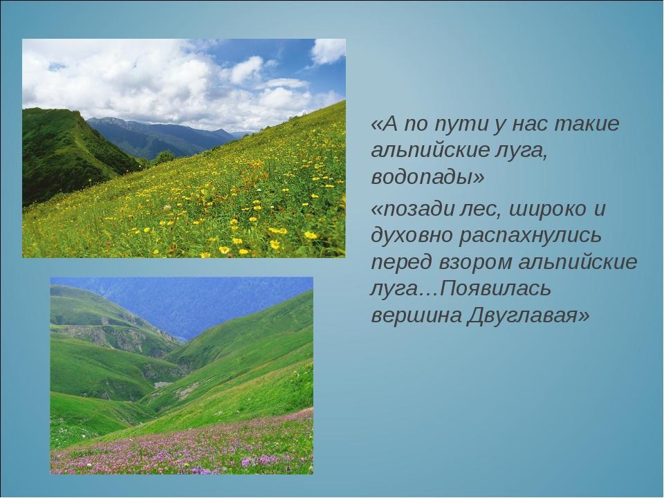 «А по пути у нас такие альпийские луга, водопады» «позади лес, широко и духов...
