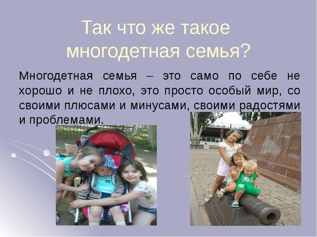 Резентация к проекту Многодетная семья за и против  Так что же такое многодетная семья Многодетная семья это само по себе не х