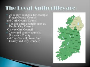 26 county councils, for example, Fingal County Council and Cork County Counci