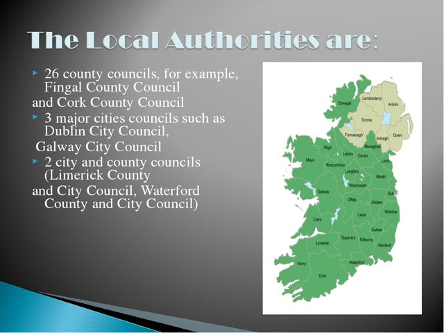 26 county councils, for example, Fingal County Council and Cork County Counci...