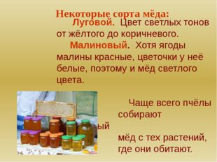 Некоторые сорта мёда: Луговой. Цвет светлых тонов от жёлтого до коричневого.