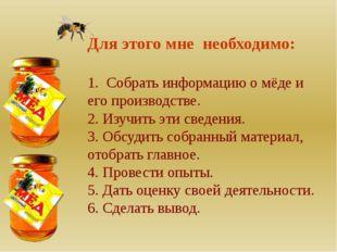 Для этого мне необходимо: 1. Собрать информацию о мёде и его производстве. 2