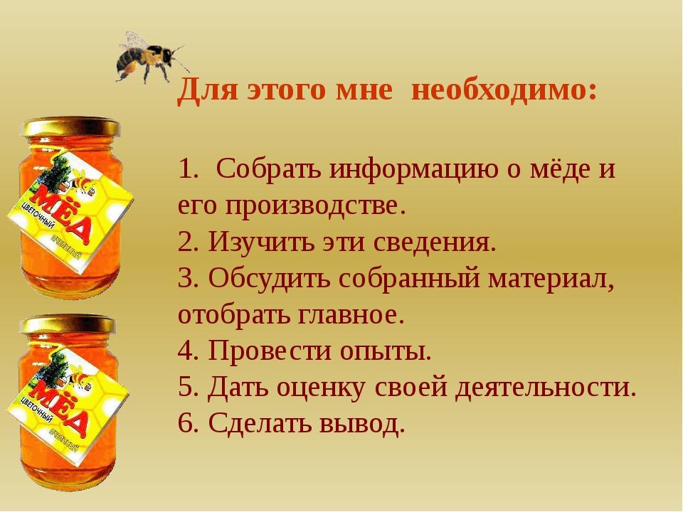 Для этого мне необходимо: 1. Собрать информацию о мёде и его производстве. 2...