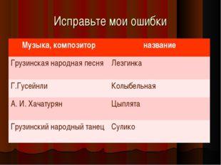Исправьте мои ошибки Музыка, композиторназвание Грузинская народная песняЛе
