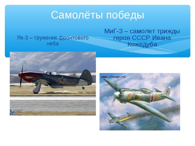 Самолёты победы Як-3 – труженик фронтового неба МиГ-3 – самолет трижды героя...