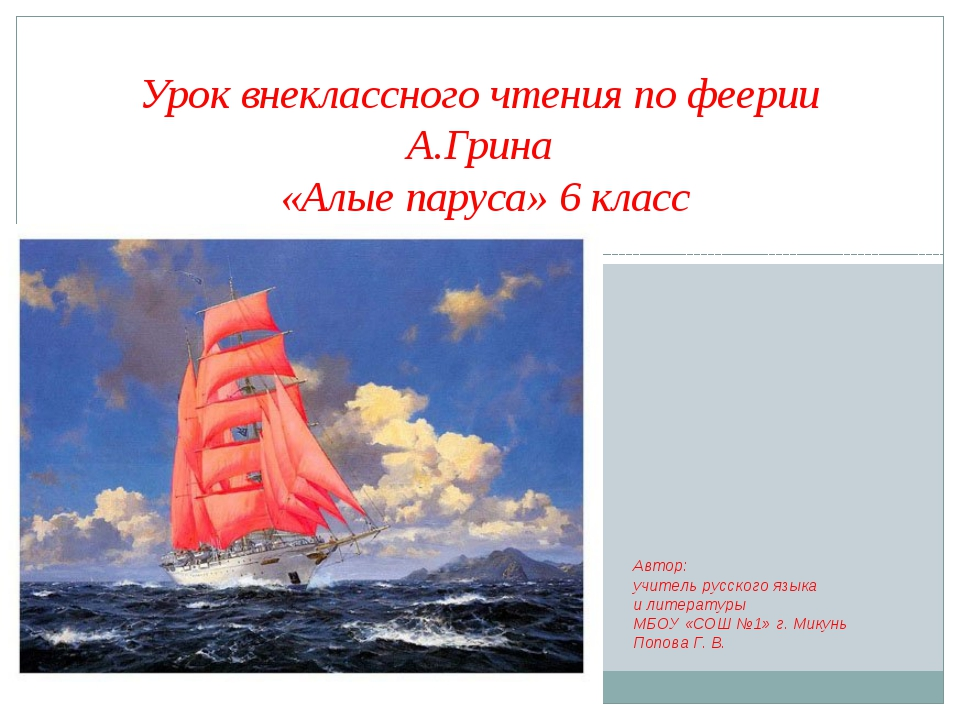 Урок внеклассного чтения по феерии А.Грина «Алые паруса» 6 класс Автор: учите...