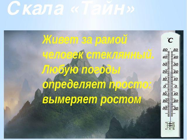 Скала «Тайн» Живет за рамой человек стеклянный. Любую погоды определяет прост...