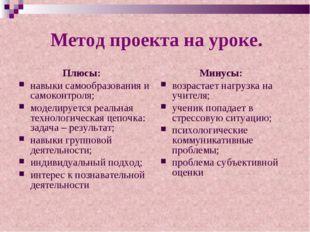 Метод проекта на уроке. Плюсы: навыки самообразования и самоконтроля; модели