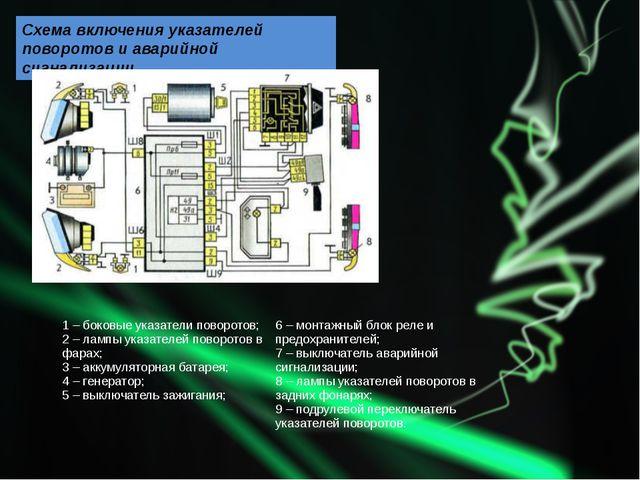 Схема включения указателей поворотов и аварийной сигнализации 1 – боковые ука...