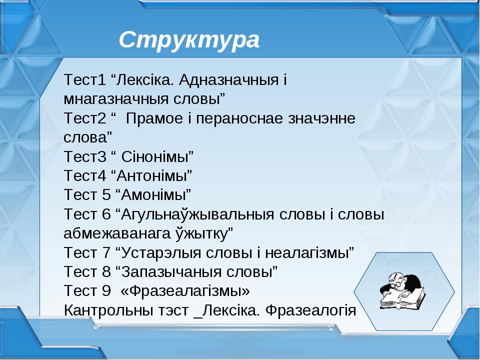 """Структура Тест1 """"Лексіка. Адназначныя і мнагазначныя словы"""" Тест2 """" Прамое і..."""