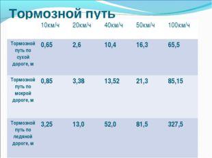 Тормозной путь 10км/ч20км/ч40км/ч50км/ч100км/ч Тормозной путь по сухой д