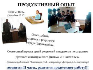 ПРОДУКТИВНЫЙ ОПЫТ Совместный проект детей родителей и педагогов по созданию Д