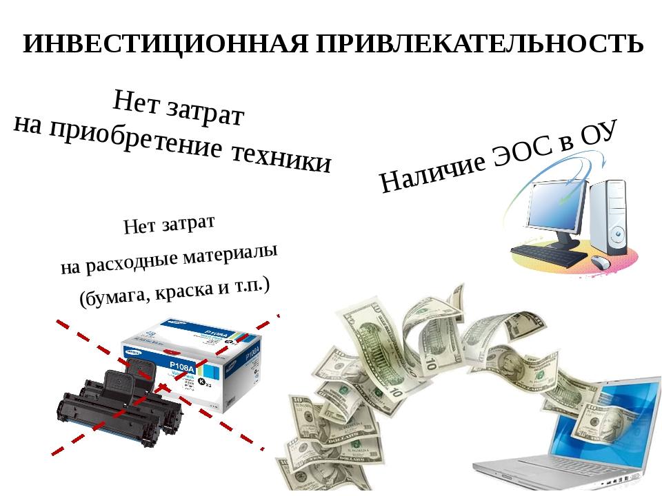 ИНВЕСТИЦИОННАЯ ПРИВЛЕКАТЕЛЬНОСТЬ Нет затрат на расходные материалы (бумага, к...