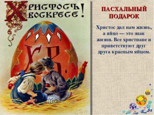 ПАСХАЛЬНЫЙ ПОДАРОК Христос дал нам жизнь, а яйцо — это знак жизни. Все христи