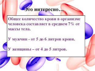 Общее количество крови в организме человека составляет в среднем 7% от массы
