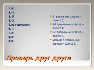Проверь друг друга 1. 4; 2. -4; 3. -5; 4. -2; 5. не существует; 6. 1; 7. 2; 8