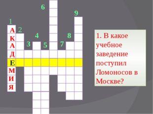 7 8 9 1 2 3 4 5 6 1. В какое учебное заведение поступил Ломоносов в Москве?