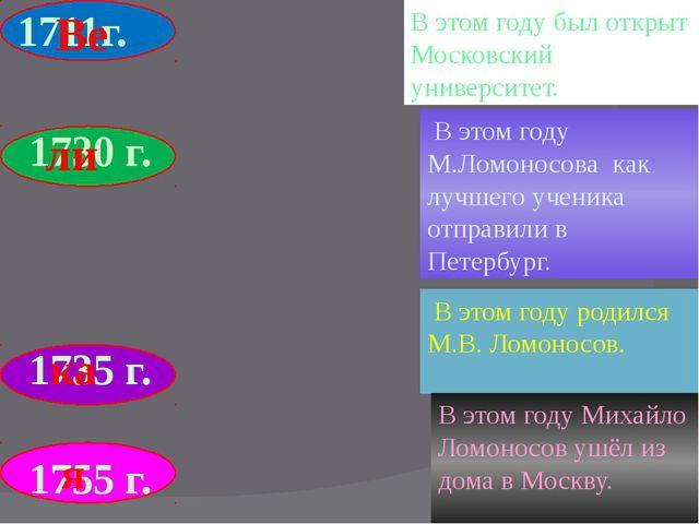 1711г. 1730 г. 1735 г. 1755 г. В этом году М.Ломоносова как лучшего ученика...