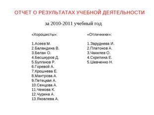 ОТЧЕТ О РЕЗУЛЬТАТАХ УЧЕБНОЙ ДЕЯТЕЛЬНОСТИ за 2010-2011 учебный год «Хорошисты»