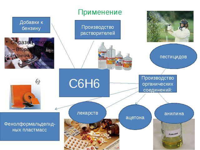 Применение С6Н6 Добавки к бензину Производство растворителей Производство орг...