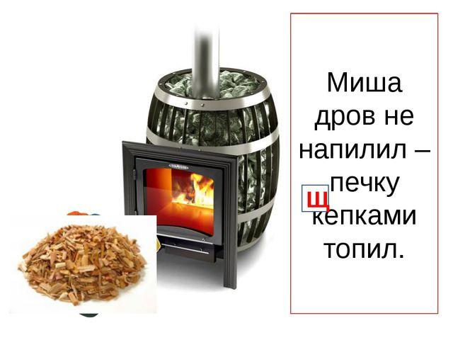 Миша дров не напилил – печку кепками топил. Щ