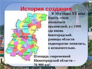 История создания Площадь Нижегородской области больше площади многих стран ми