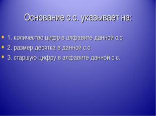 Основание с.с. указывает на: 1. количество цифр в алфавите данной с.с. 2. раз