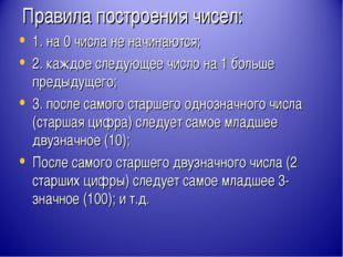 Правила построения чисел: 1. на 0 числа не начинаются; 2. каждое следующее чи
