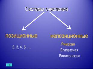 Системы счисления позиционные непозиционные Римская Египетская Вавилонская 2,