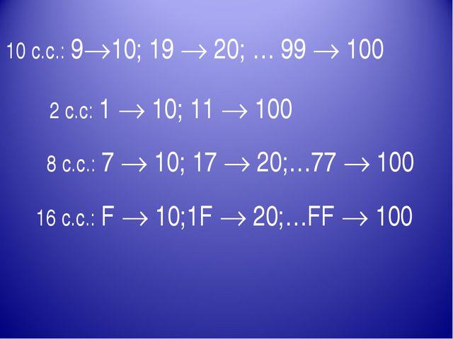 10 с.с.: 910; 19  20; … 99  100 2 с.с: 1  10; 11  100 8 с.с.: 7  10; 17...