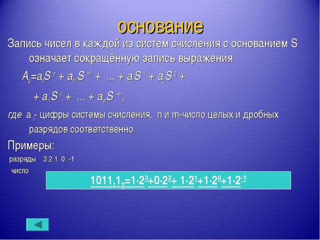 основание Запись чисел в каждой из систем счисления с основанием S означает с...