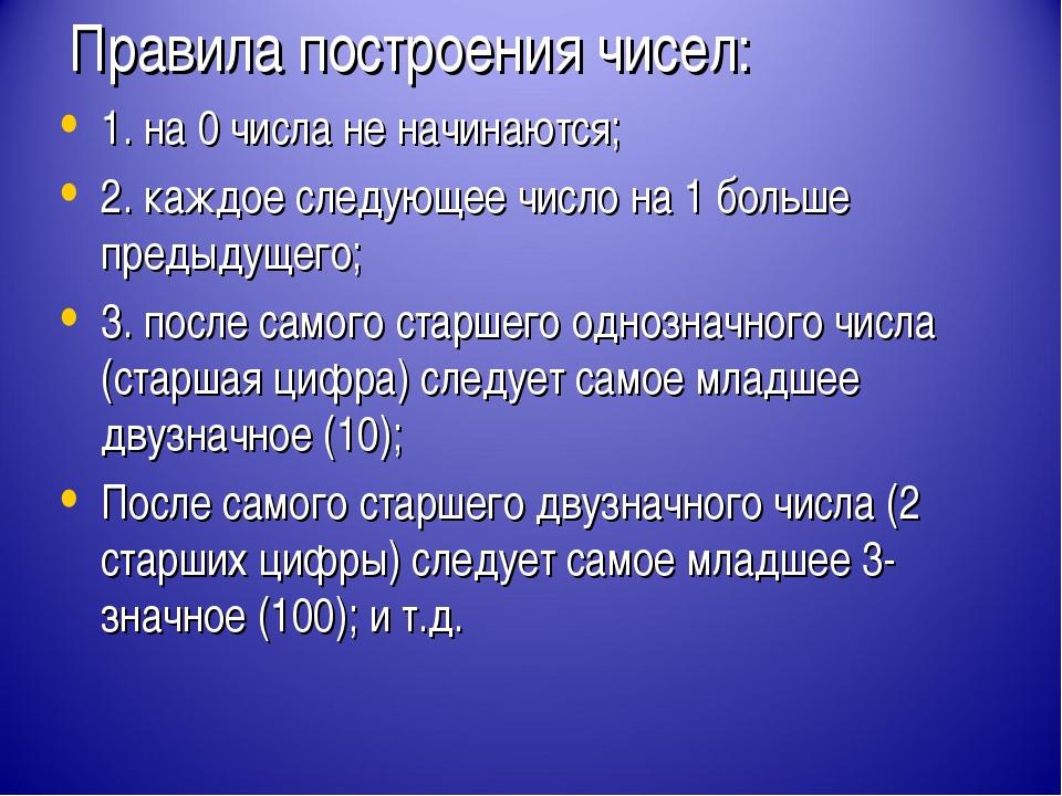 Правила построения чисел: 1. на 0 числа не начинаются; 2. каждое следующее чи...