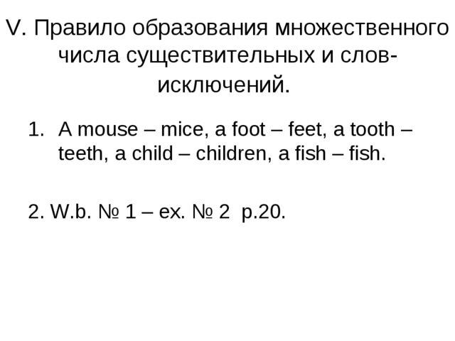 V. Правило образования множественного числа существительных и слов-исключений...