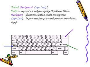 Enter? Backspace? Caps Lock ? Enter – переход на новую строку. Клавиша ввода.