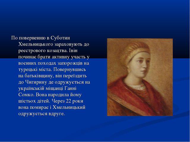 По поверненню в Суботин Хмельницького зараховують до реєстрового козацтва. Ів...