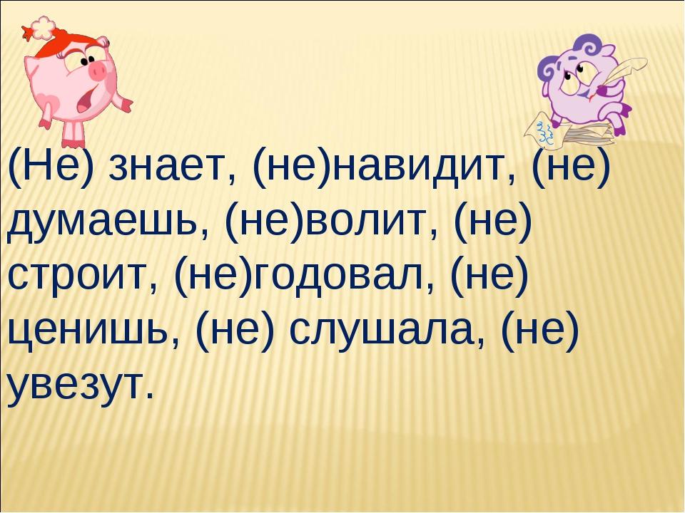 (Не) знает, (не)навидит, (не) думаешь, (не)волит, (не) строит, (не)годовал, (...