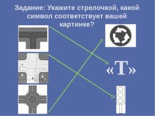 Задание: Укажите стрелочкой, какой символ соответствует вашей картинке? «Т»