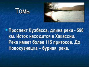 Томь Проспект Кузбасса, длина реки - 596 км. Исток находится в Хакассии. Река