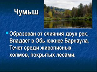 Чумыш Образован от слияния двух рек. Впадает в Обь южнее Барнаула. Течет сред