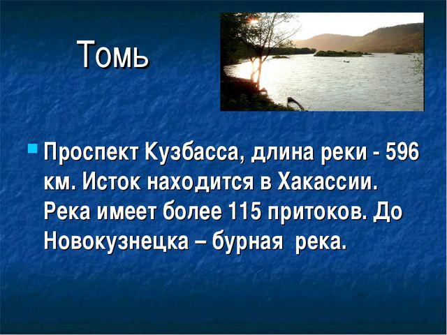 Томь Проспект Кузбасса, длина реки - 596 км. Исток находится в Хакассии. Река...