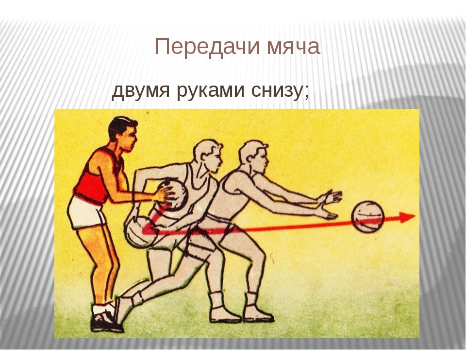 Передачи мяча двумя руками снизу;