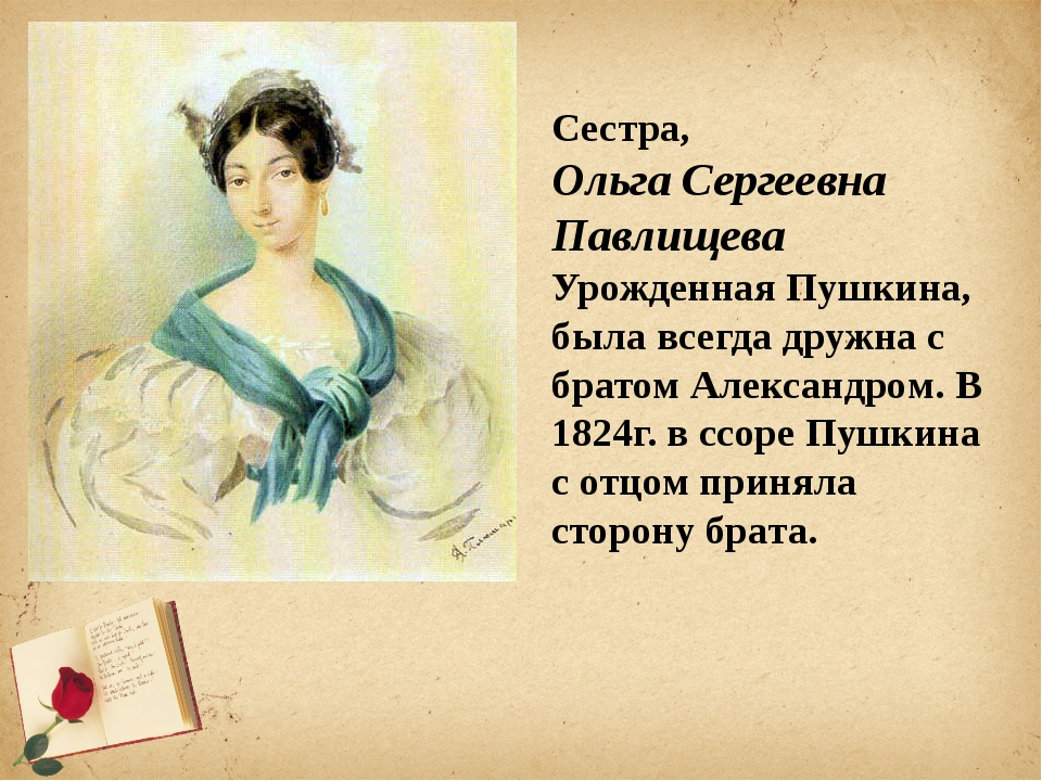 Сестра, Ольга Сергеевна Павлищева Урожденная Пушкина, была всегда дружна с бр...