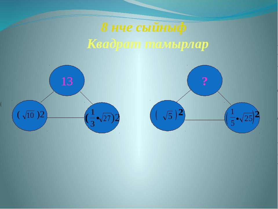 8 нче сыйныф Квадрат тамырлар 13 ? ( )2 ( )2 2 • 2