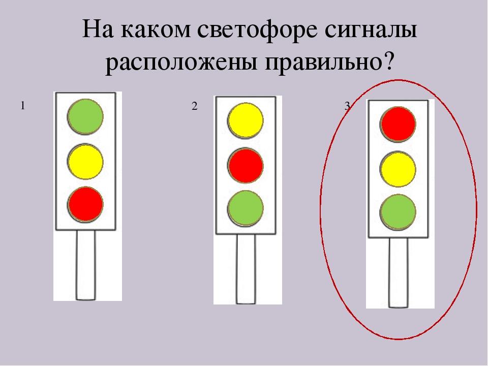 На каком светофоре сигналы расположены правильно? 1 2 3