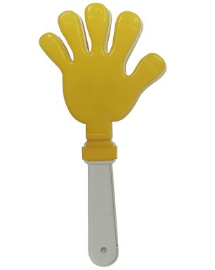 Ладошка-трещотка для болельшика желтая с белым