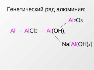 Генетический ряд алюминия: Al → AlCl3 → Al(OH)3 Na[Al(OН)4] Al2O3