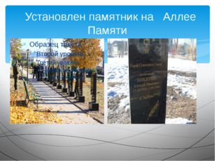 Установлен памятник на Аллее Памяти