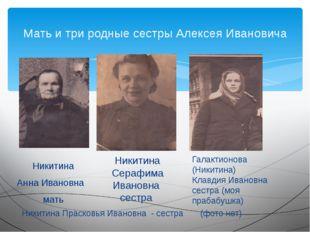 Никитина Анна Ивановна мать Мать и три родные сестры Алексея Ивановича Никит