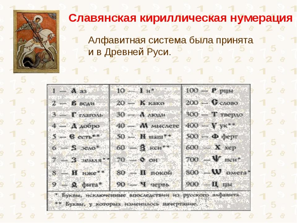 Алфавитная система была принята и в Древней Руси. Славянская кириллическая н...