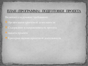 Включает следующие требования: Организация проектной деятельности Содержание